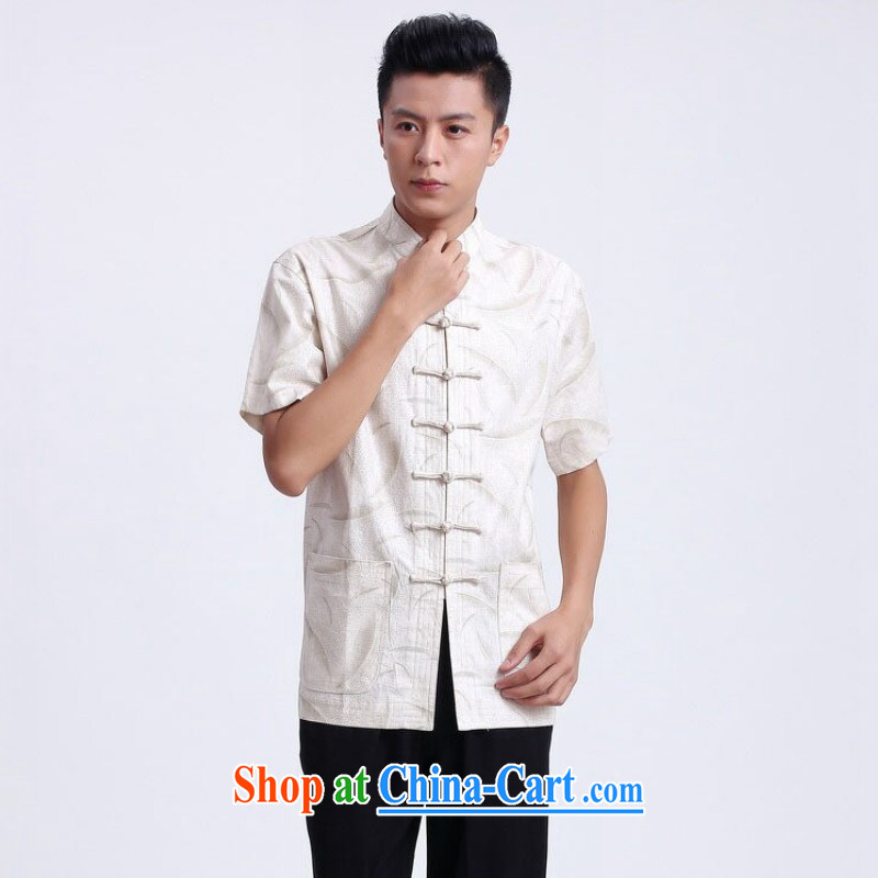 Property is still property of the Summer load new short-sleeved Chinese male Chinese improved smock breathable absorbent linen collar, ethnic Chinese male - 1 white XXXL