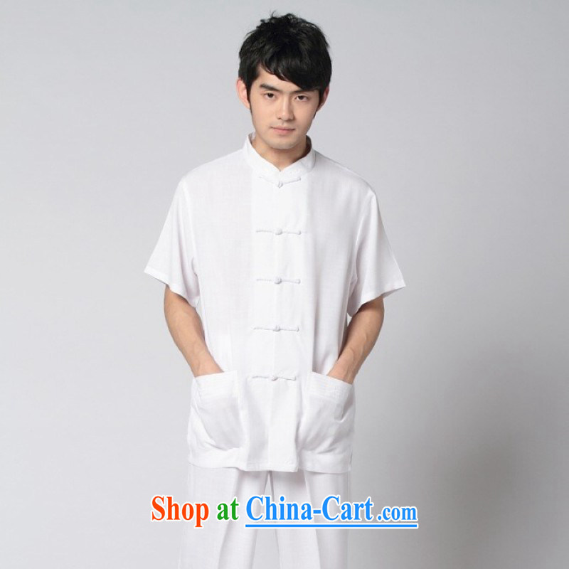 Floor is floor male summer, new Chinese men Chinese improved smock cotton MA, short-sleeved T-shirt Kung Fu Tai Chi T-shirts and clothing - 7 white XXL