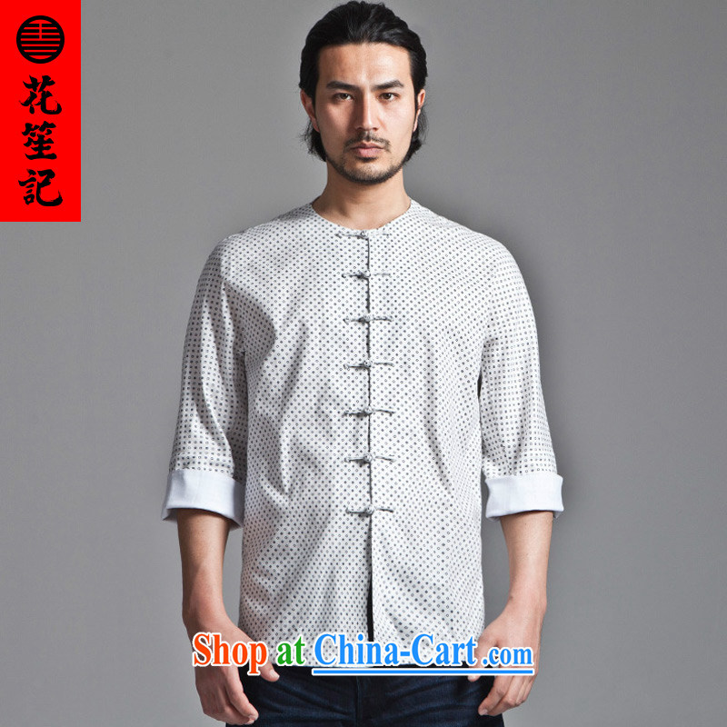 His Excellency took the wind Star watching the empty retreat Yi-neck-tie men's Chinese beauty, short-sleeved Chinese national White - round collar _M_