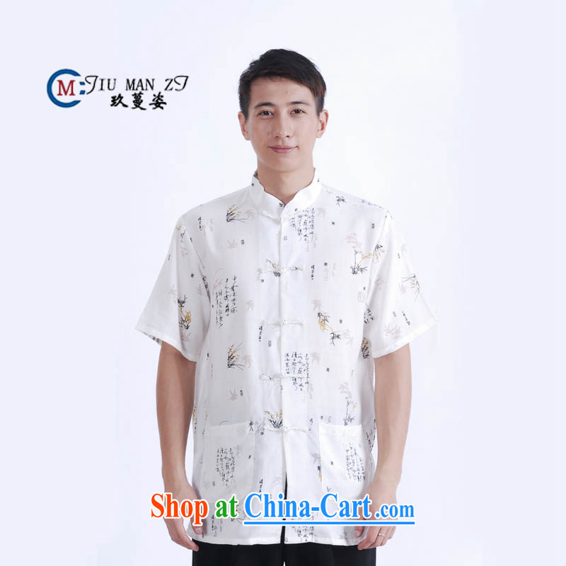Ko Yo vines into colorful 2015 men's summer cotton the commission is deducted, in older men and the Tang is short-sleeve men's national dress casual Tang with white XXXL