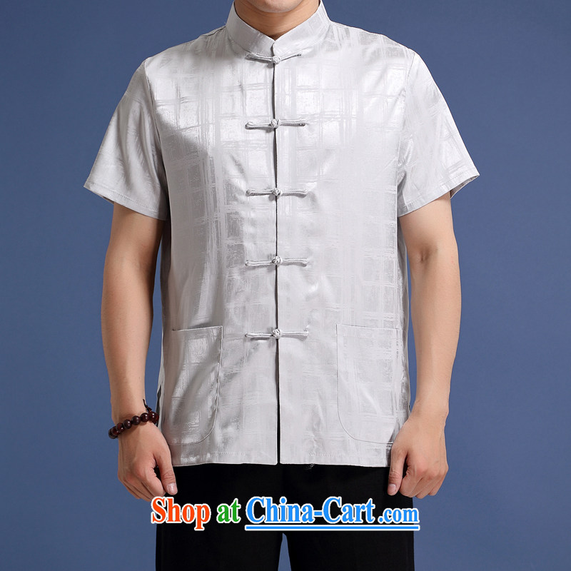 New products are for men with short T-shirt with short sleeves, older Chinese, short-sleeved Chinese T-shirt Chinese Wind and refined the detained men striped short-sleeve T-shirt gray XXXL/190