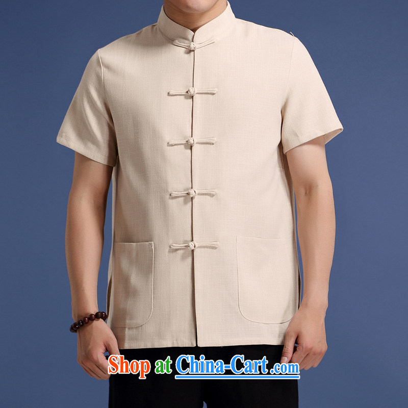 High quality cotton mA short-sleeved Chinese T-shirt Solid Color men, older men and casual the short-sleeved Chinese summer T-shirt new cotton Ma Chinese short-sleeve T-shirt m yellow XXXL_190