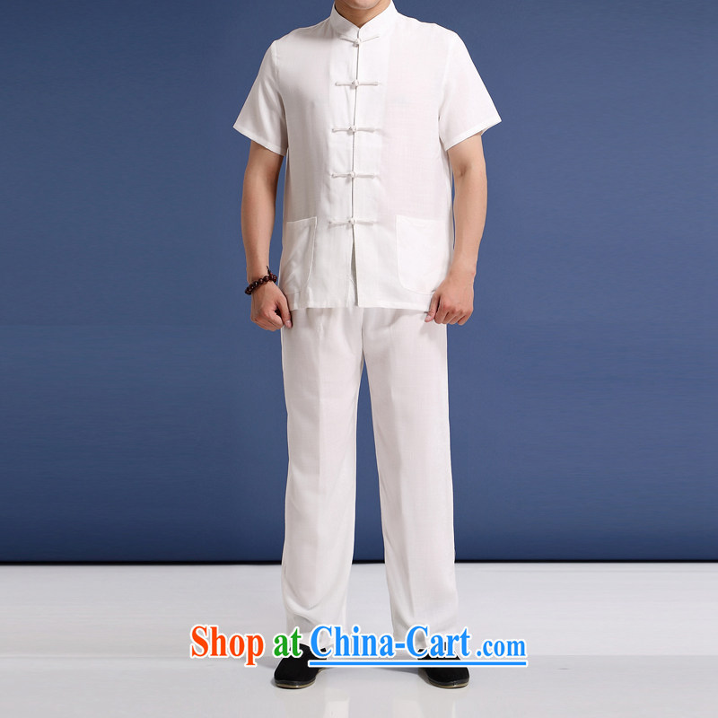 Summer is from China, men's solid color linen short-sleeve kit, older men's summer Chinese, for half sleeve male Chinese Ethnic Wind-tie linen package white L_175