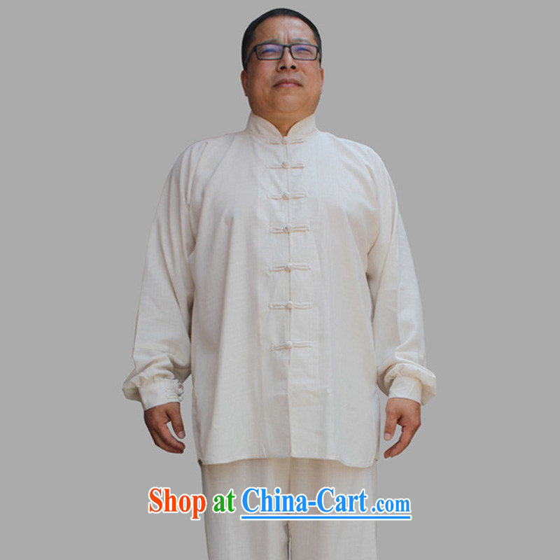 Yan Shu in older men's new summer Ethnic Wind Tang is very casual Tai Chi uniforms father morning exercise clothing, for the charge-back the code martial arts Kit beige cotton Ma 4 XL