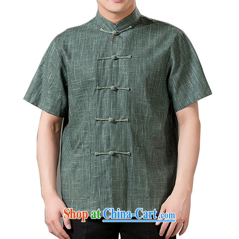 15 new, older men's Chinese Ethnic Wind and leisure, for T-shirt cotton mA short-sleeved Chinese clothes hand-tie relaxed and comfortable green 4 XL