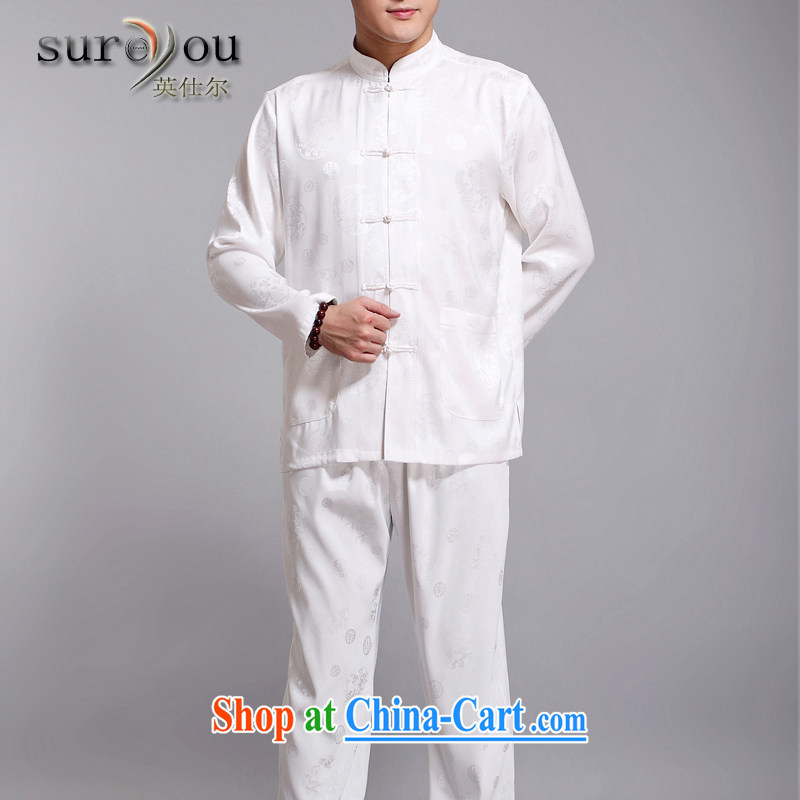 Sureyou genuine men's 15 men's high quality long-sleeved Chinese Chinese The Dragon leisure older Chinese long-sleeved jacket promotional father gift white 190
