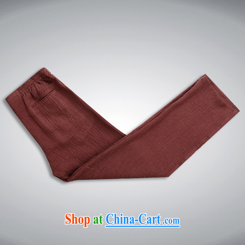 Sureyou men's trousers 15 new men and upscale linens washable 100% pants men's trousers Elasticated waist trend of deep red 190