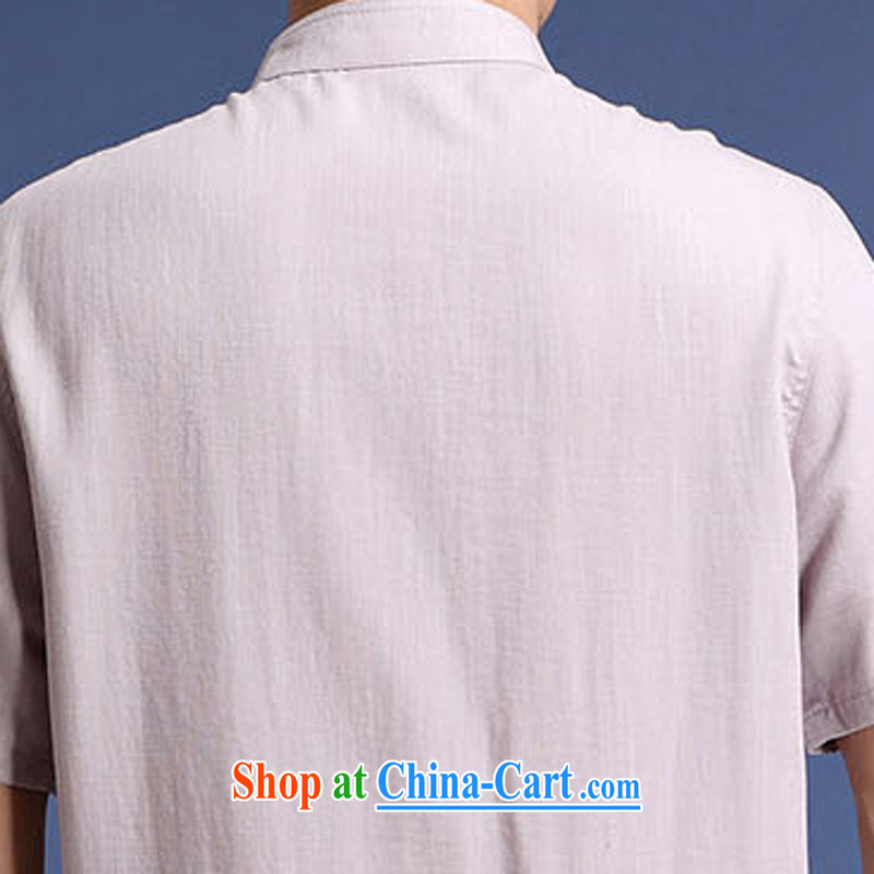 And 3 line summer new upscale and stylish men's short-sleeved embroidery cotton mA short-sleeved T-shirt with short Solid Color embroidery trend of Chinese, for summer short-sleeved Chinese wind embroidery t-shirt white XXXL/190, and mobile phone line (ge
