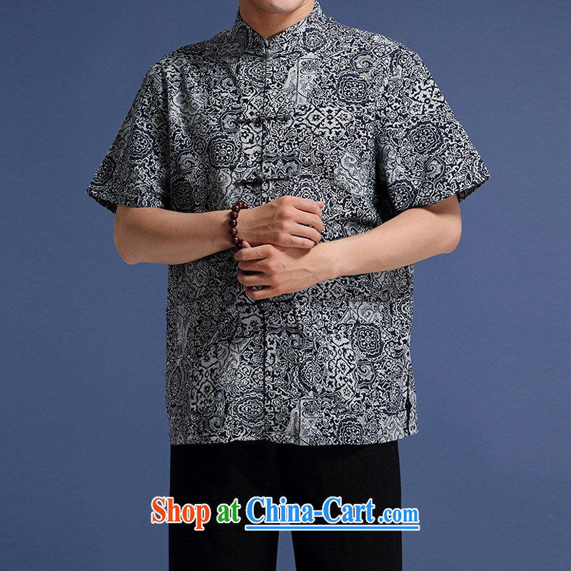 and Mobile Phone Line New Chinese wind high cotton Ma Man Tang is short-sleeved men, for loose Chinese-tie dress men's stamp duty cotton Ma short-sleeve T-shirt blue XXL_185