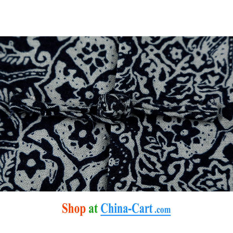 and Mobile Phone Line New Chinese wind high cotton Ma Man Tang on short-sleeved men's the collar loose Chinese-tie dress men's stamp duty cotton Ma short-sleeved T-shirt blue XXL/185, and mobile phone line (gesaxing), and, on-line shopping