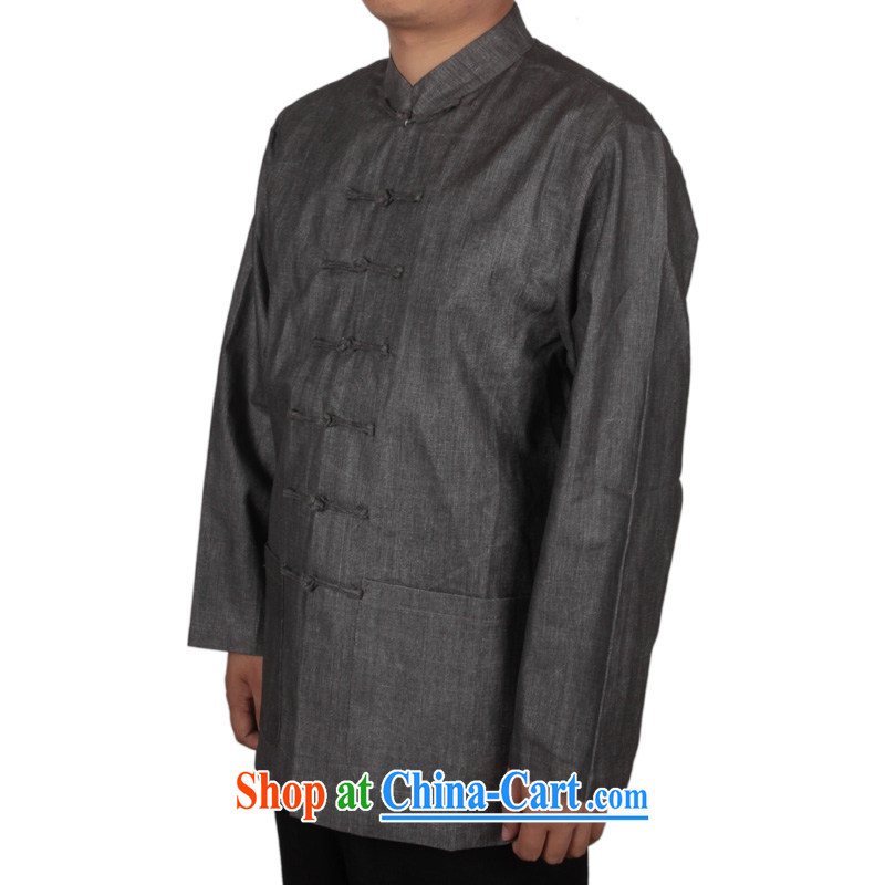 and mobile phone line China wind Chinese men's cotton long-sleeved T-shirt the commission men, served the Commission cotton long-sleeved relaxed and comfortable men's large, solid-colored long-sleeved T-shirt multi-color optional dark gray XXXL_190