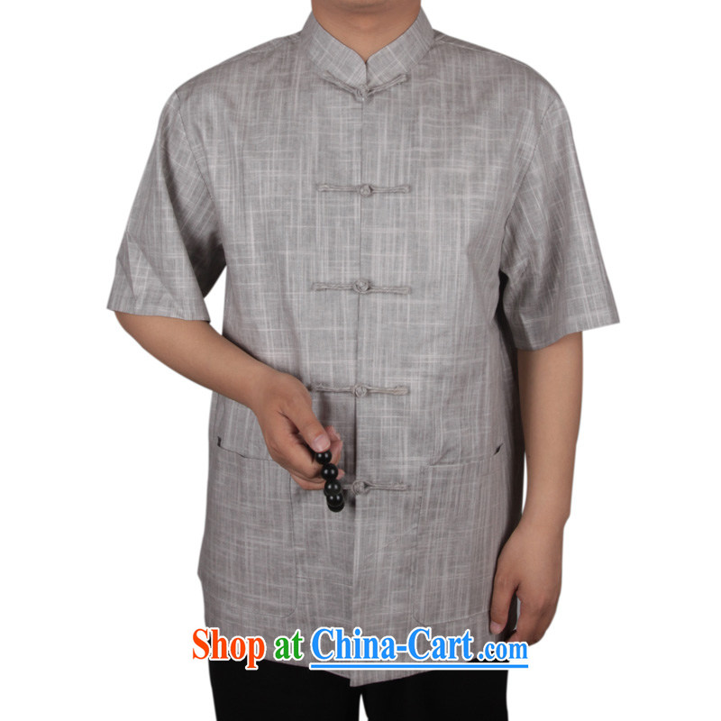 and mobile phone line new middle-aged and older Chinese men and summer Chinese cotton Ma short-sleeved Chinese T-shirt men's linen muslin Chinese Han-men and light gray XL_180