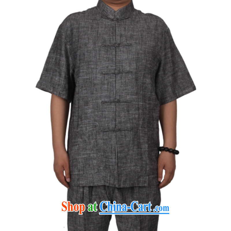 Summer in the cotton men's Chinese short-sleeve kit National wind in the summer old muslin cotton Ma clothing Chinese short-sleeve and collar-tie men and Kit Tang is dark gray XXXL/190