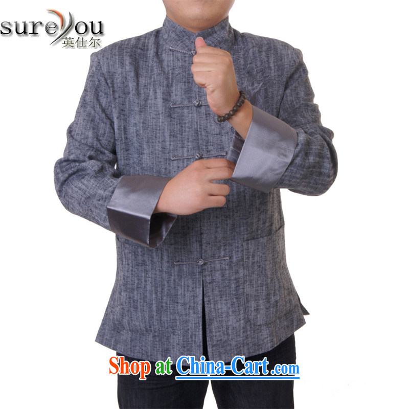 Sureyou_Ying Shi, 14 New Men's men's casual tang on the collar-tie men's long-sleeved T-shirt, 711 gray 190
