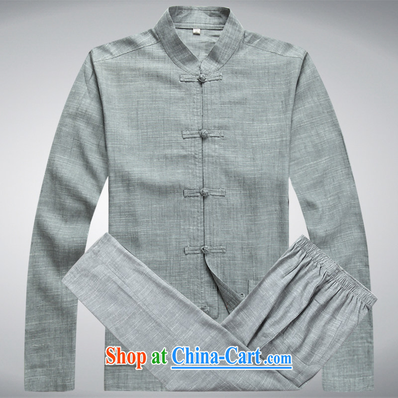 Hi concentric autumn and winter, Tang with long-sleeved Kit stylish lounge Chinese men and Chinese Kit linen wash Tang with Blueish gray' a set of included pants XXXL