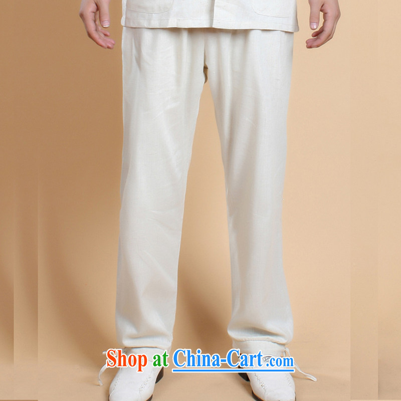 Take the 2014 new stylish summer older father loaded male cotton Ma Solid Color retro Chinese lanterns trousers - 3 white XXXL