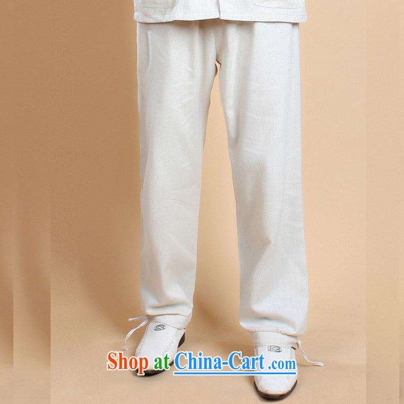 Take the 2014 new stylish summer, older father loaded male cotton the solid color antique Chinese lanterns trousers - 3 white XXXL, figure, and, shopping on the Internet