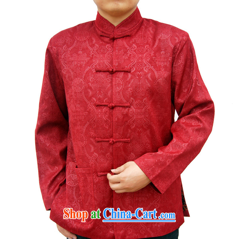 Sureyou Ying Shi, genuine male New Men's casual male Chinese, for Tang-fish pattern jacket 1155, deep red 190