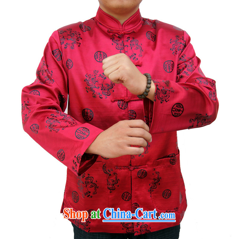 Sureyou men's Spring and Autumn and new, replacing men's leisure, for the charge-back Chinese men's long-sleeved Chinese T-shirt dragons, 1061 red 190