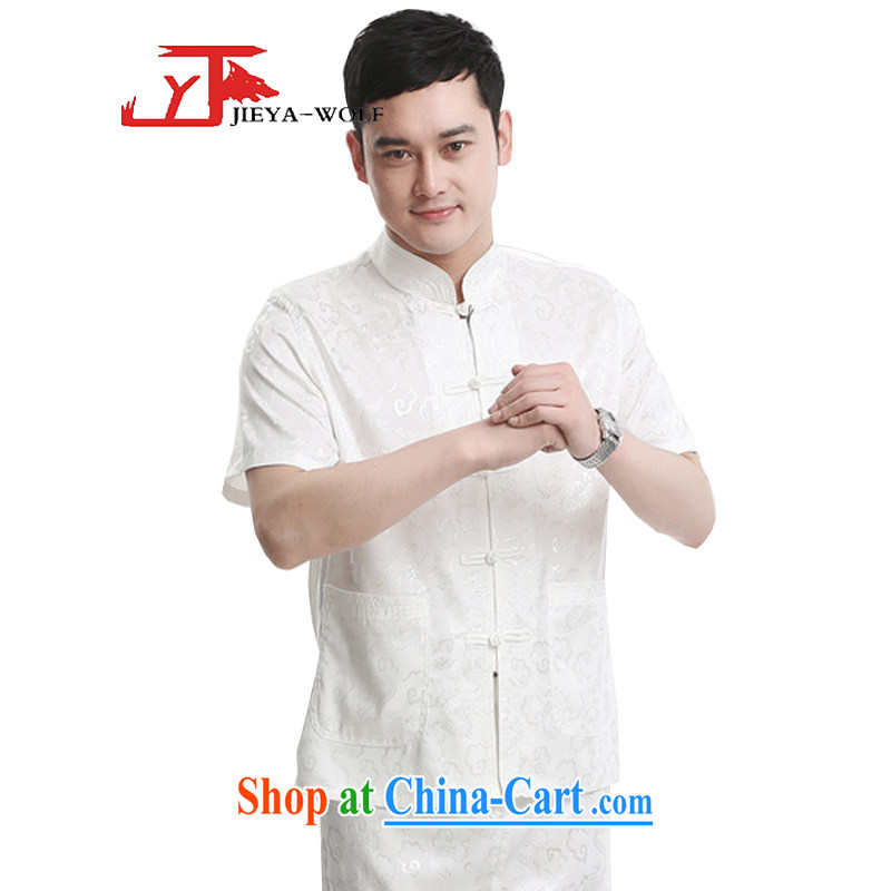 Jack And Jacob - Wolf JIEYA - WOLF new kit Tang with men's short-sleeved summer, male Chinese short-sleeved silk auspicious Yunlong figure advanced silk, white a 175/L