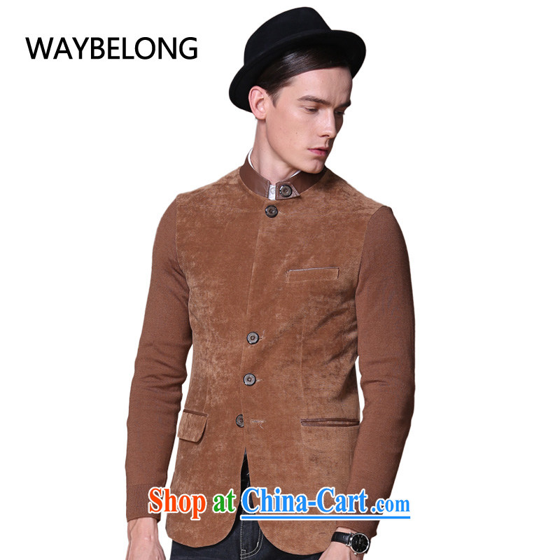 Waybelong male emulation The muslin PU leather collar China wind national smock - JK 1310094 brown L