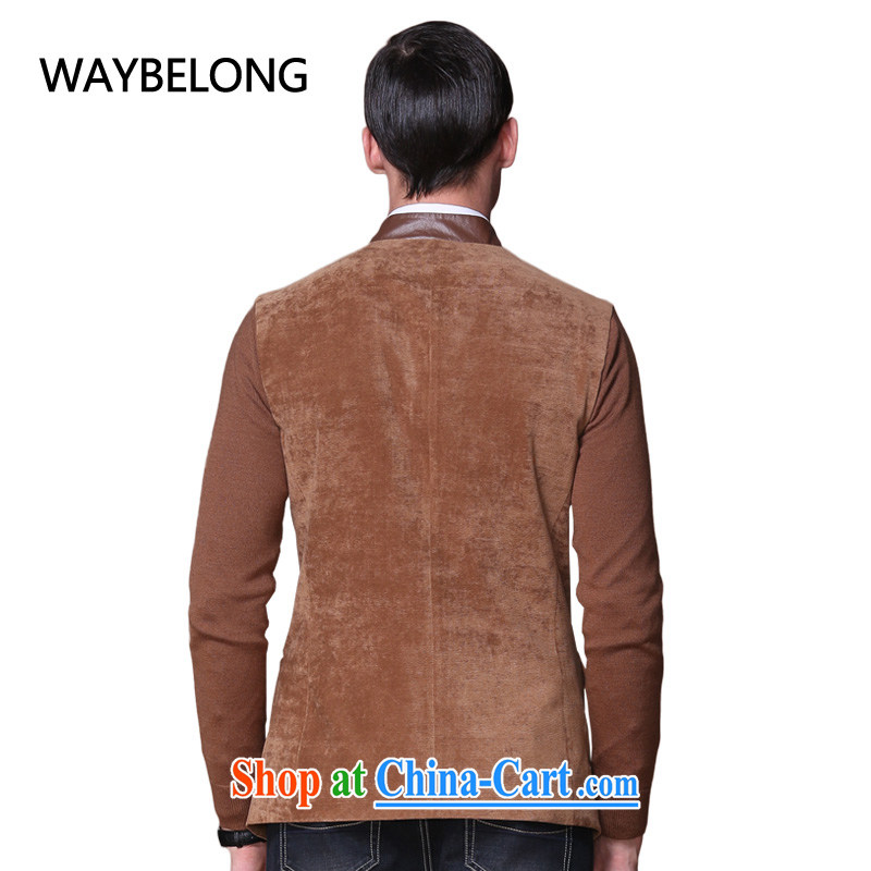 Waybelong male emulation The muslin PU leather collar China wind national smock - JK 1310094 brown L, than (waybelong), shopping on the Internet