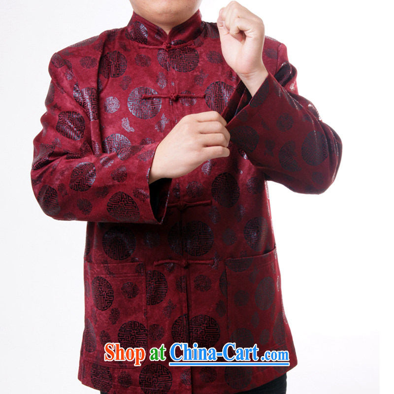 Sureyou men's upscale Chinese Chinese male, for the charge-back round-the Chinese Spring and Autumn and replace the older jacket 1283 deep red 190