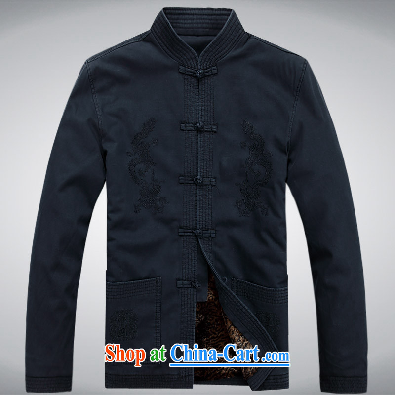 Hi concentric men's new men's casual male Chinese, for Chinese cotton thick coat dark blue XXXL