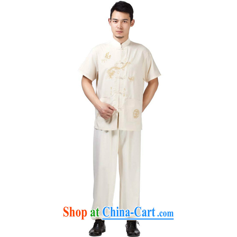 Yan Shu in older men and Ethnic Wind Chinese 15 new short-sleeve kit, for the charge-back embroidered dragon kung fu with Father morning exercise clothing - cotton Dragon beige short-sleeved 43