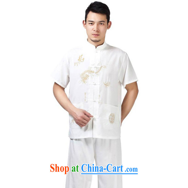 Her cabinet this new middle-aged and older men and Chinese Ethnic Wind embroidery, short-sleeved T-shirt father exercises his morning exercises martial arts kung fu with half sleeve T-shirt - cotton Dragon white short-sleeved 43