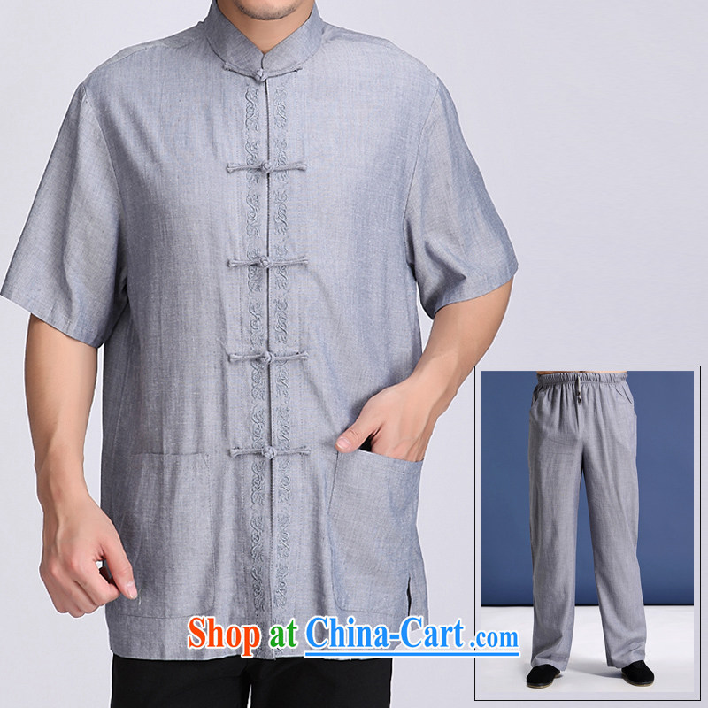 Summer new middle-aged and older increased the fat men short-sleeved Tang with a short-sleeved Kit ethnic wind solid color embroidery, older men and relaxed and comfortable, for embroidery Tang package with blue-gray XXXXL/195