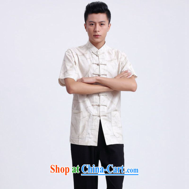 And Jing Ge older Chinese men and summer Chinese improved breathable water absorption, for Chinese men's short-sleeved larger male 2372 - 1 white聽XXXL