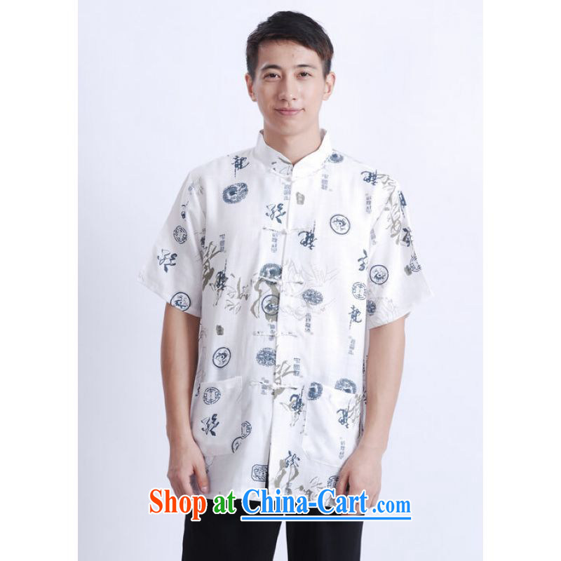 And Jing Ge older Chinese men and summer Chinese improved Chinese men's short-sleeved larger male M 0005 Chinese dragon white XXXL