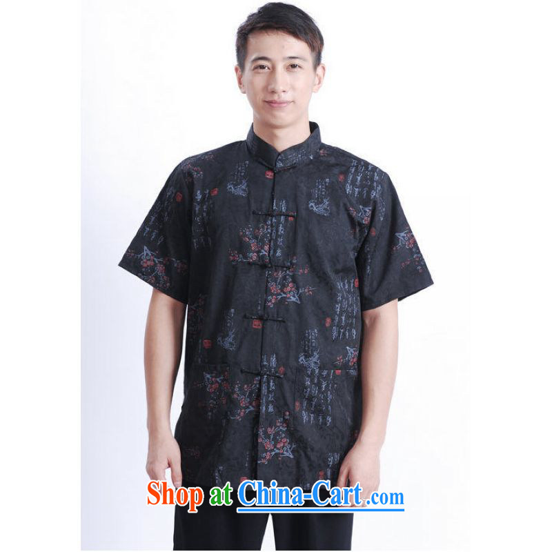 And Jing Ge older Chinese men and summer Chinese improved Chinese men's short-sleeved larger male black XXXL
