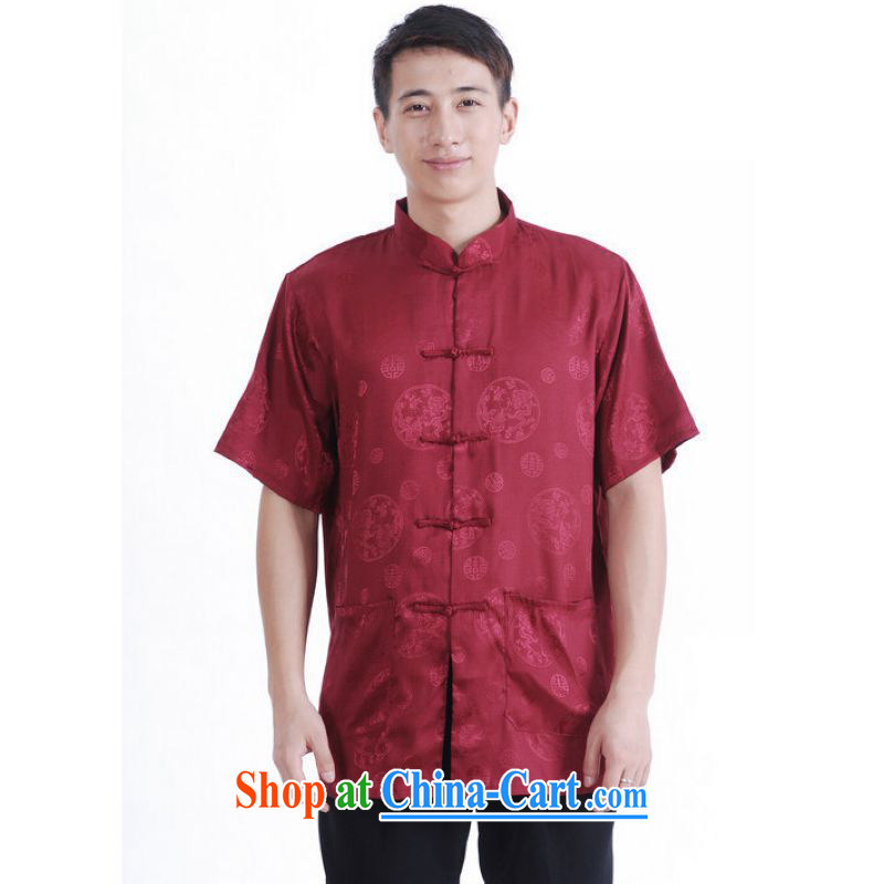 And Jing Ge older Chinese men and summer Chinese improved 9 has the Chinese men's short-sleeved larger male Magenta XXXL