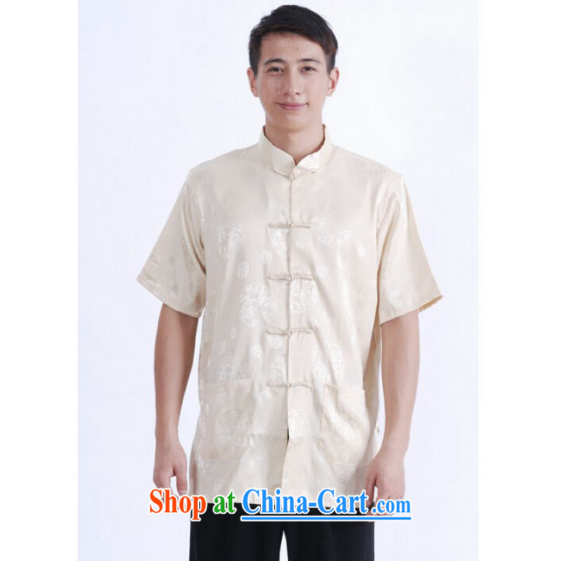 And Jing Ge older Chinese men and summer Chinese improved 9 has the short Chinese men's short-sleeved larger male beige L