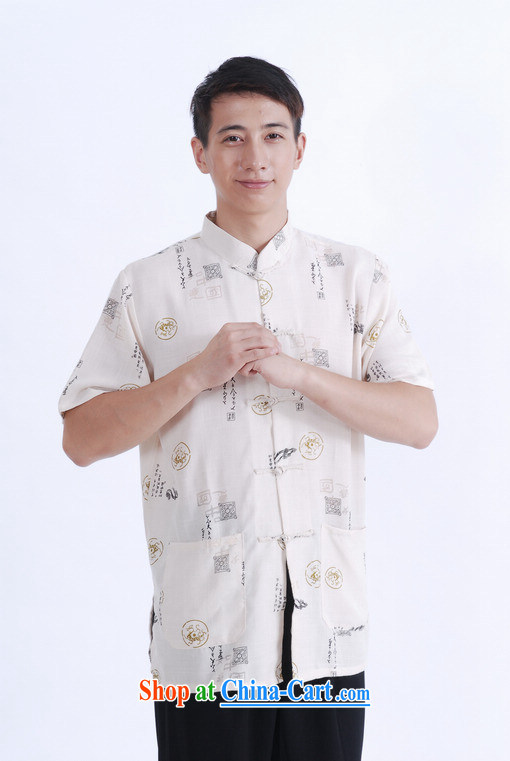 And Jing Ge older Chinese men and summer Chinese improved the Chinese men's short-sleeved larger male beige XXXL pictures, price, brand platters! Elections are good character, the national distribution, so why buy now enjoy more preferential! Health