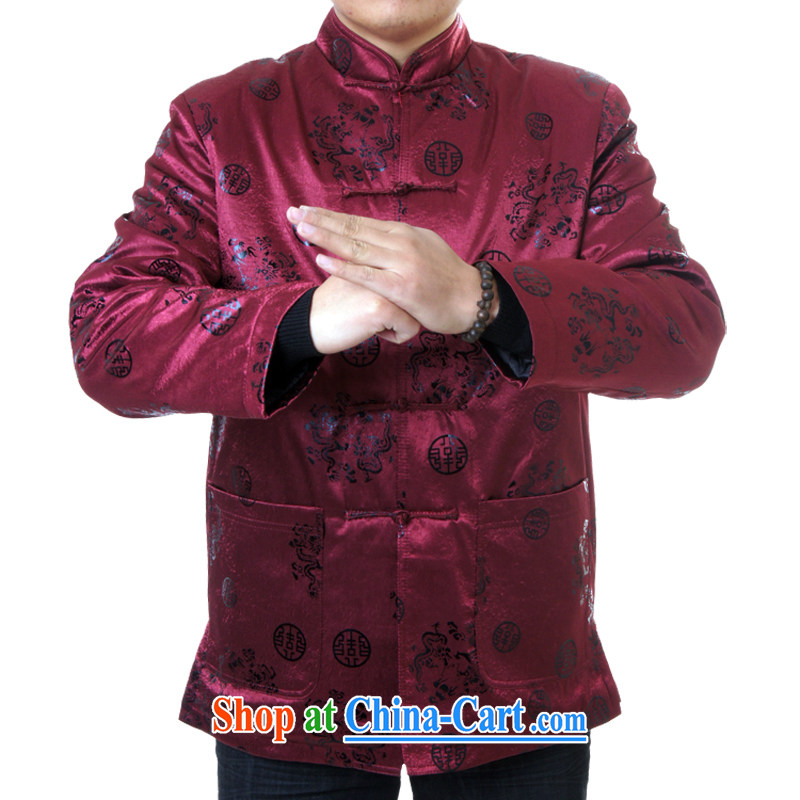 Sureyou Ying Shi, genuine male New Men's leisure spring Chinese, for Chinese Dragons pattern jacket 0991, deep red 190