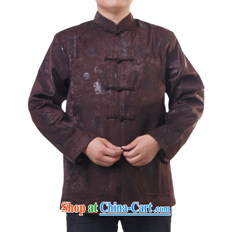 The British, Mr HUI's new men and Chinese Spring and Autumn and male leisure and blessing for birthday Chinese Chinese dragon-shaped pattern birthday gift 1225, brown 190