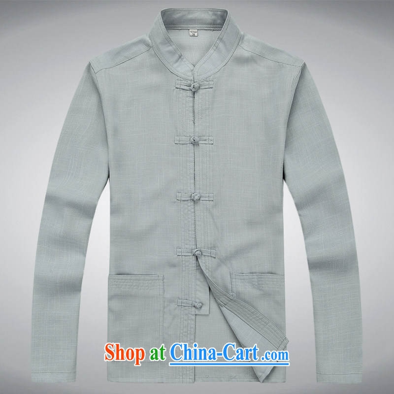 Hi concentric autumn and winter, older men and Tang with loose long-sleeved jacket light gray XXXL