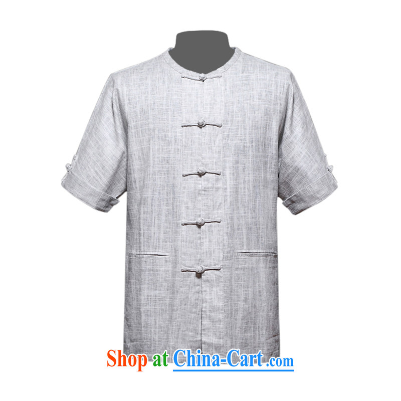 Men's genuine development programs the commission short-sleeved T-shirt Chinese new upscale cotton mA short-sleeved Chinese men and Chinese, for the program the national clothing relaxed and comfortable father with light gray XXXL/190