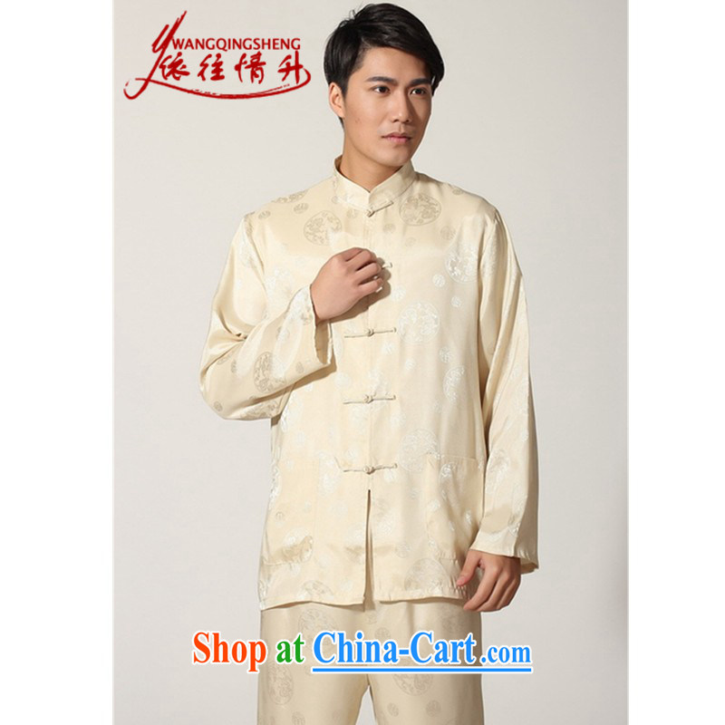 According to the situation in 2015 and stylish casual male damask Ethnic Wind carved up for the T-shirt kung fu long-sleeved kit M 0050 - D picture color XXXL
