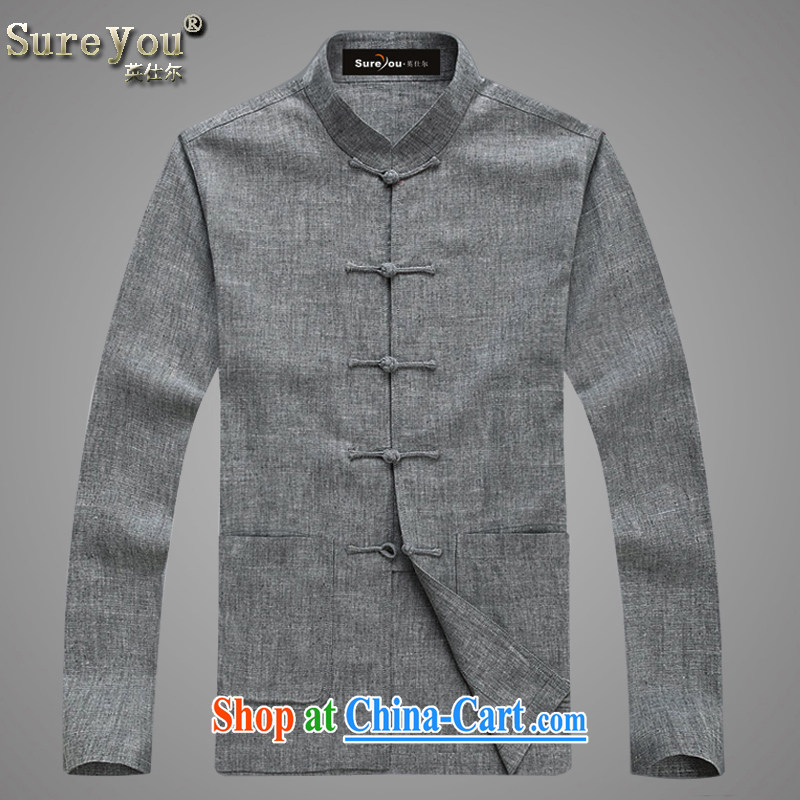 The British, Mr Rafael Hui, and ethnic costumes package linen long-sleeved Chinese, for leisure, older Chinese men and 3 Color Select 052, light gray 190