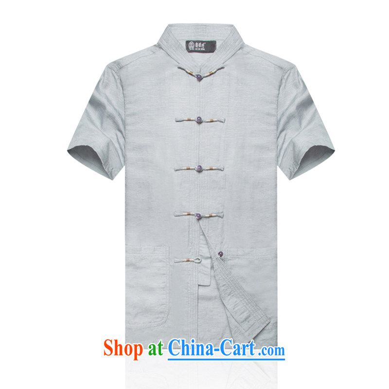 F In 1709 older men linen short-sleeve and collar China wind T-shirt Chinese summer cotton the Chinese men's light gray XXXL/190