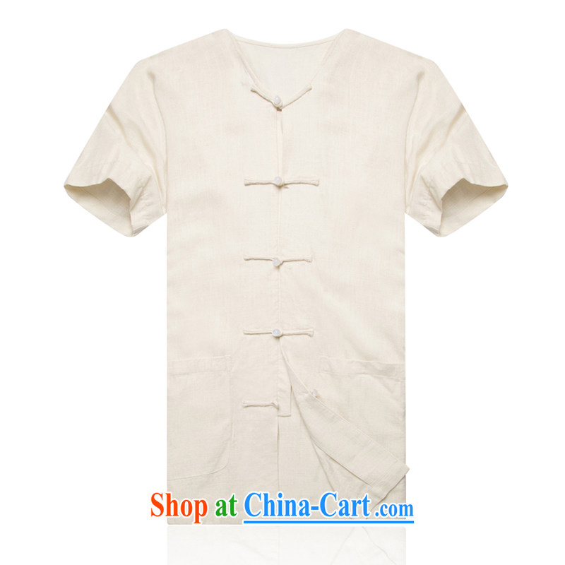 New F 1602 older people in summer wear men's short-sleeve no collar cuff shoulder the larger units the Tang with linen men's Han-M white�XXXL/190