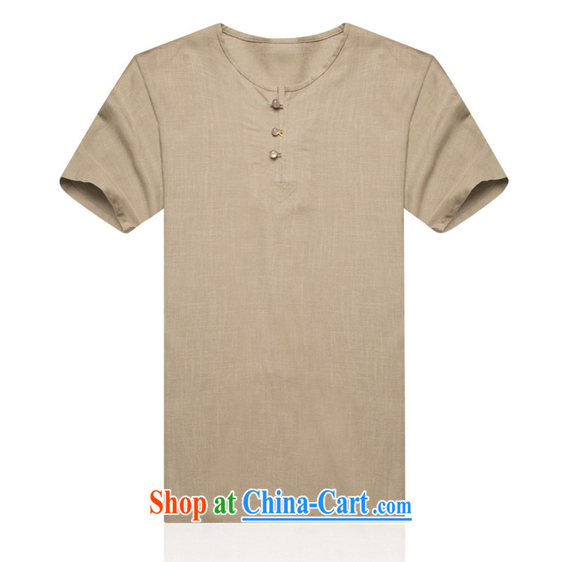 Middle-aged and older summer men's Chinese-shoulder-sleeve cotton mA short-sleeved, older summer linen men's clothing, men's short sleeve and cotton Ma Tang card its color XXXL/190, and mobile phone line (gesaxing), and, on-line shopping