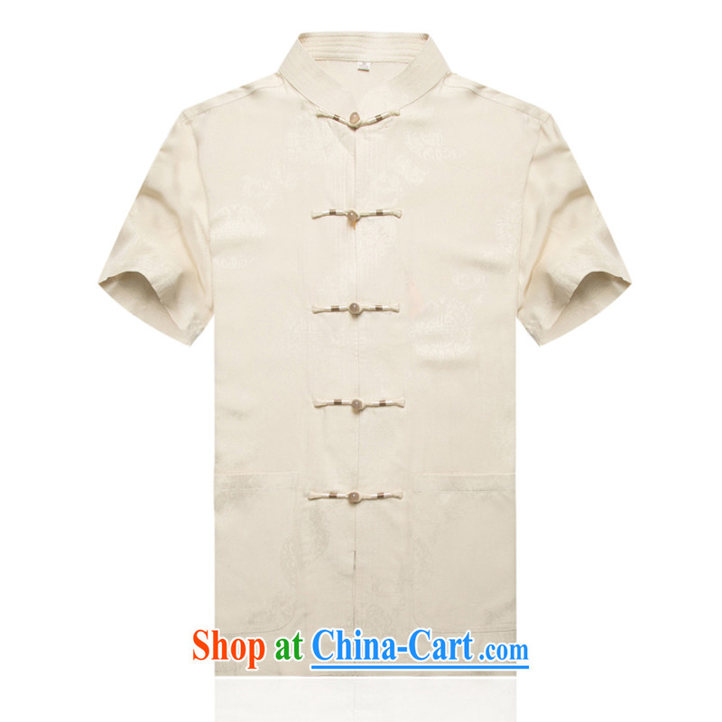In the summer, the Kowloon Yau Ma Tei cotton short-sleeved T-shirt men's short-sleeved short T-shirt with the older round hi half sleeve Tang with his father's summer Chinese Han-father with beige XXXL/190