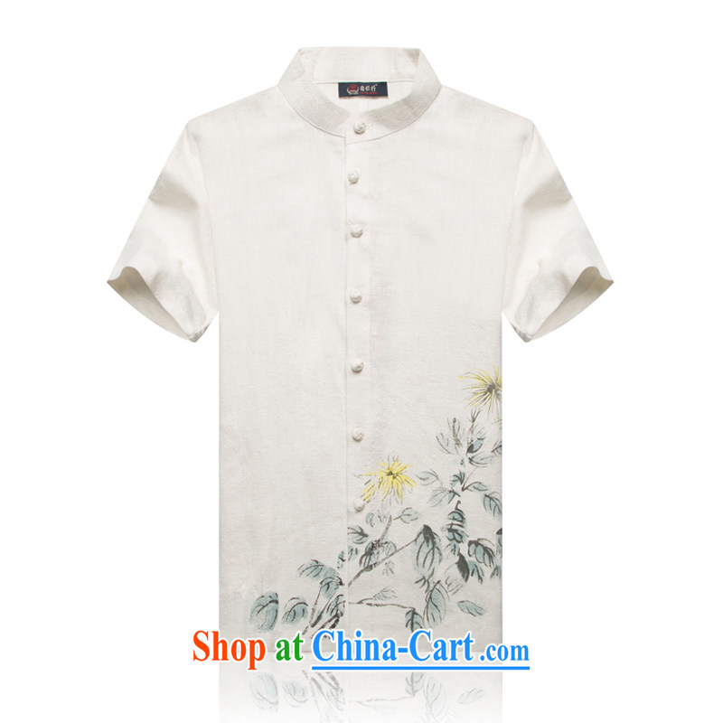 1601 F New ramie high short-sleeved Chinese men and men's short-sleeved T-shirt Chinese national assembly mounted on high-quality comfortable Han-white XXL/185