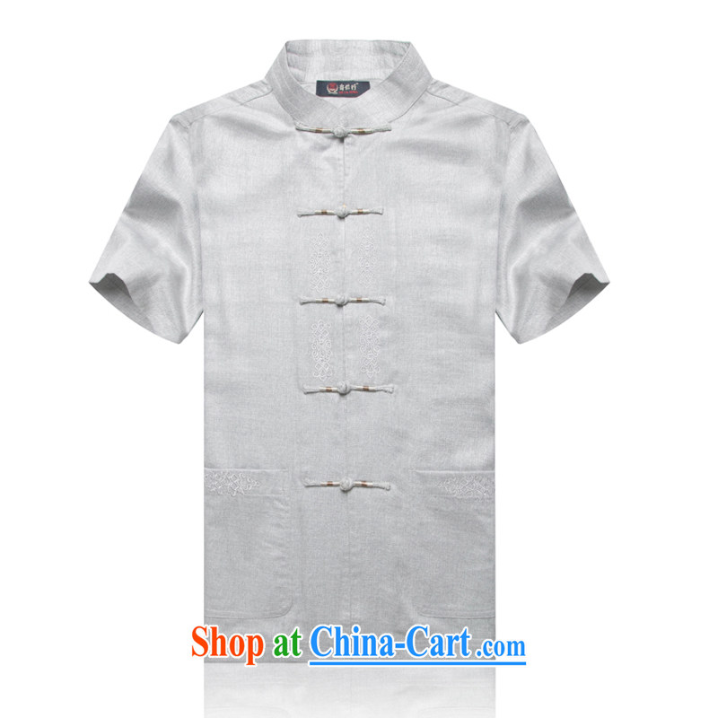 1702 CD new, genuine older persons in summer wear men's cotton the Chinese Embroidery linen Cotton Men's Han-short-sleeved Tang with gray L_175