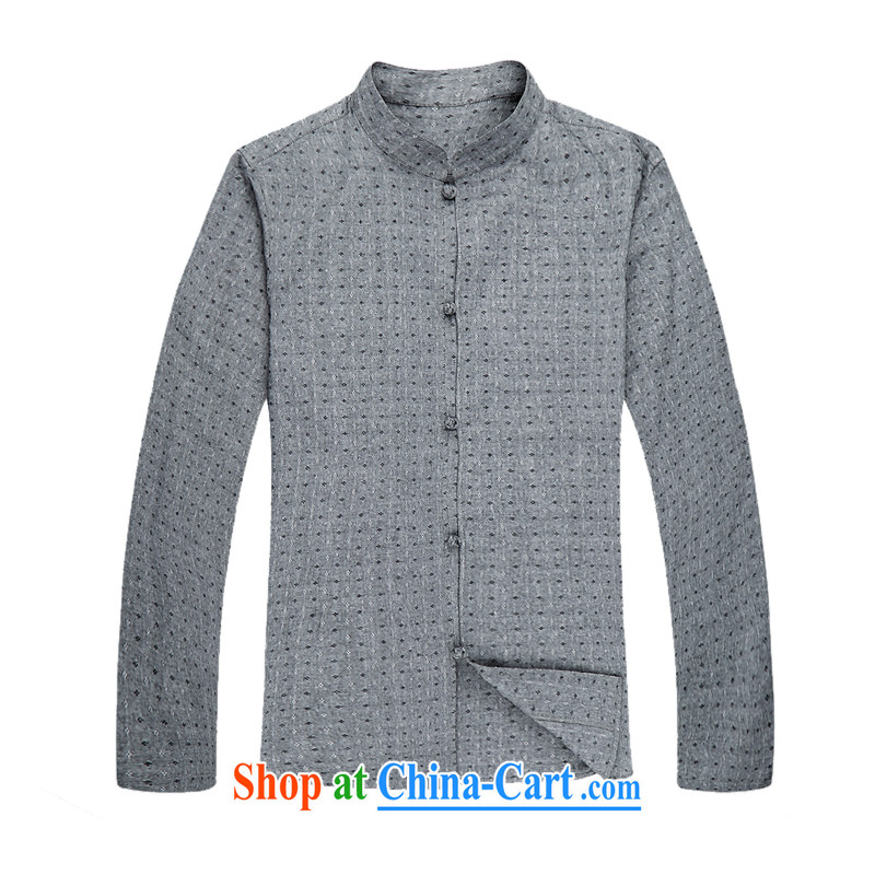 Spring and Autumn and long-sleeved light rain, men's cotton the Chinese China wind stylish cotton the Chinese men's long-sleeved spring loaded Chinese, for Han-leisure men's Chinese long-sleeved T-shirt gray XXXL_190